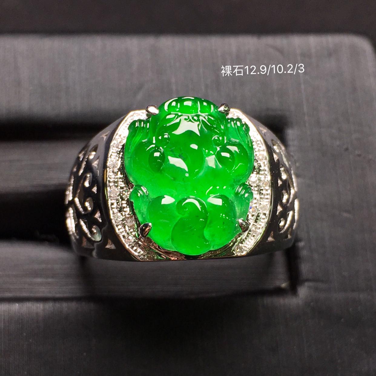 满绿貔貅马鞍戒,18k金豪华镶钻,无纹无裂,种好色好,质量杠杠的,性价比超高