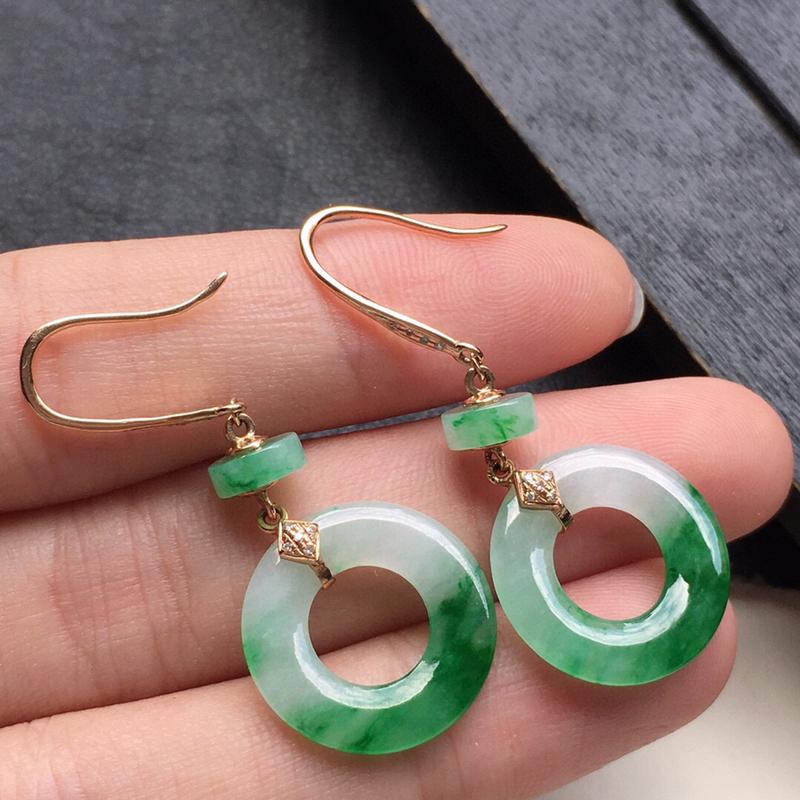 耳饰耳坠,翡翠18K金伴钻镶嵌带绿平安扣耳坠,自然光实拍,玉质细腻,雕工精美,佩戴送礼佳品,包金尺寸