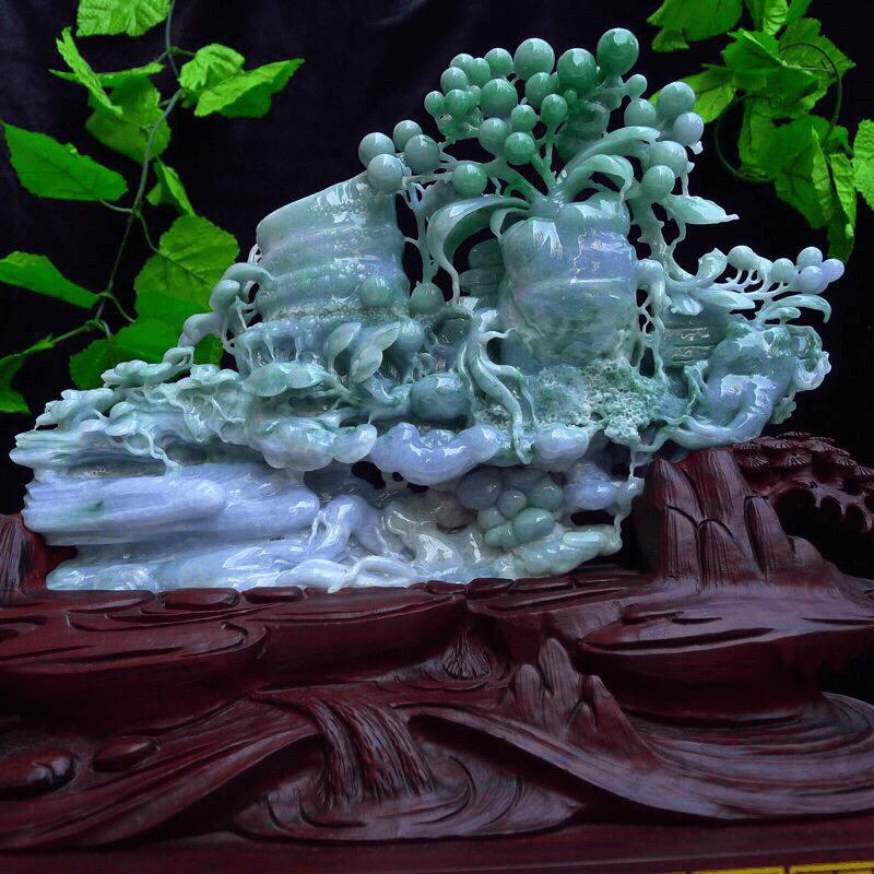 翡翠(祝您人生如意,步步高高升)老种起胶大摆件翡翠老坑冰润春带彩精雕人生百顺精品摆件 人参,竹节,灵