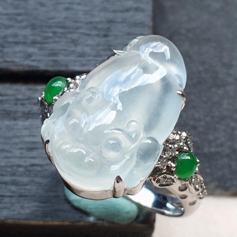 戒指,翡翠17圈18k金伴钻镶嵌三脚金蟾戒指,自然光实拍,玉质莹润,佩戴佳品,内径:17.1mm(可