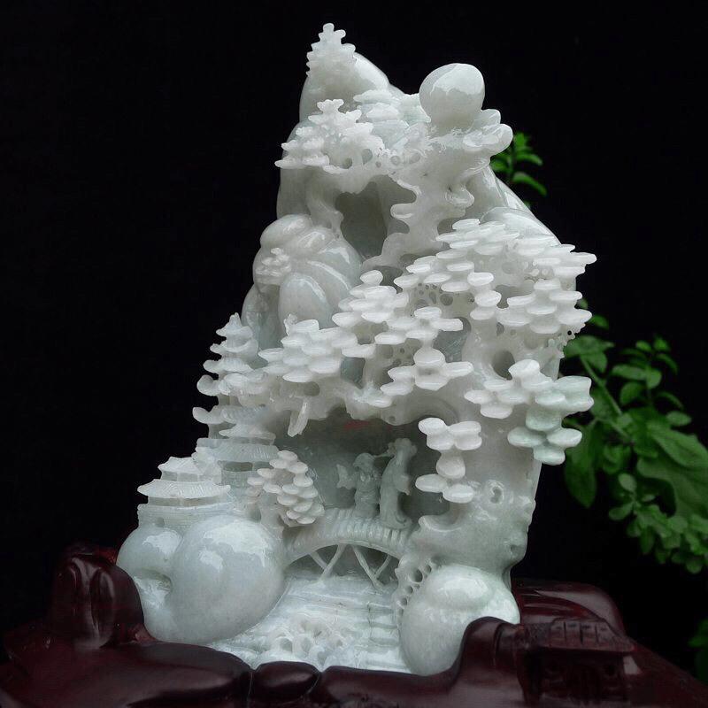 (深山访友),翡翠精雕立体缕空山水山子摆件 裸石尺寸200*230*55mm 连底座尺寸350*26