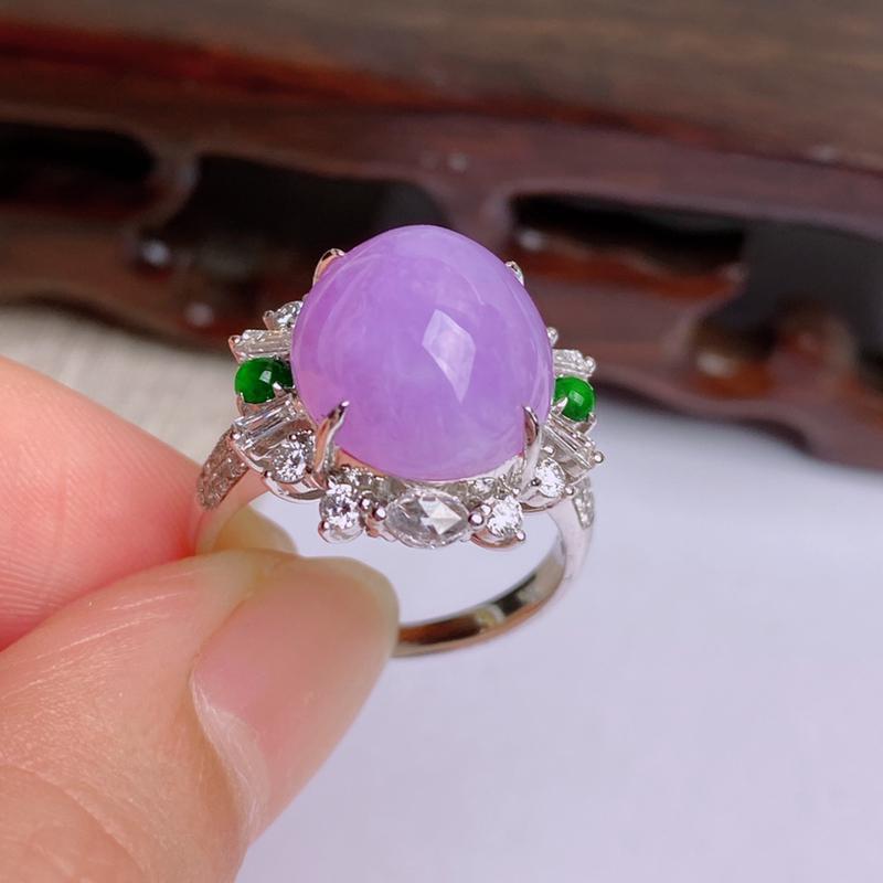 A货翡翠-种好紫罗兰18K金伴钻蛋面戒指,尺寸-裸石13.1*11.6*6.7mm整体17.6*16
