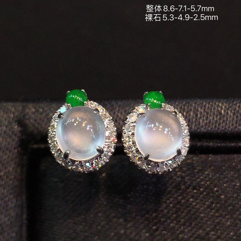 冰种蛋面耳钉,冰透圆润,荧光四射,18K金镶嵌钻石